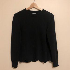 JCrew Black Scalloped Sweater